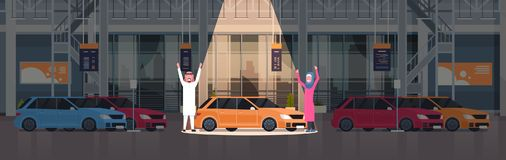 Couple Of Arab Seller Presenting New Car In Dealership Center Showroom Over Set Of New Vechicles Horizontal Banner. Flat Vector Illustration Royalty Free Stock Images