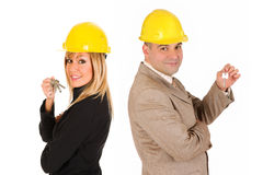 Couple of architect with keys Stock Image