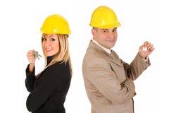 Couple of architect with keys Stock Image