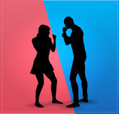 Couple argue fight. Boxing fight Royalty Free Stock Photography