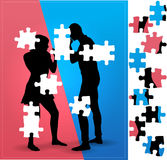 Couple argue fight : boxing. Illustration with Puzzle  pieces Stock Photos