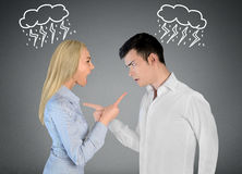 Couple argue. And pointing eachother Royalty Free Stock Photo