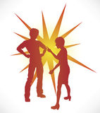 Couple Arguing. A couple in silhouette having a heated argument Stock Photo