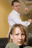 Couple arguing in apartment Royalty Free Stock Photo