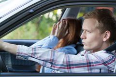 Couple arguing in a car Stock Image