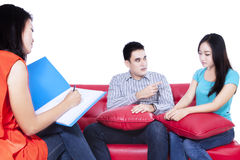 Couple arguing during consult session Royalty Free Stock Photography