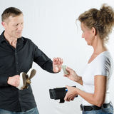 Couple arguing about money in wallet Royalty Free Stock Images