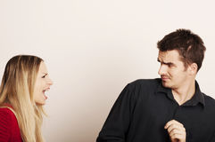 Couple arguing. Young couple arguing, girl yelling Royalty Free Stock Image