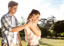 Couple after an argument in the park Royalty Free Stock Photos