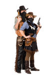 Couple of armed robbers stock photos