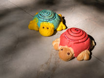 A couple of artificial turtles.  Royalty Free Stock Photos