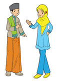 Couple of asian muslim teens Stock Photography