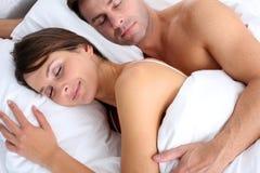 Couple asleep stock photos