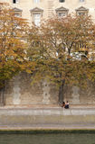 Couple At La Seine Royalty Free Stock Photos