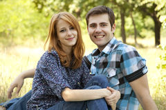 Couple At Outdoor In Summer Time. Stock Photos