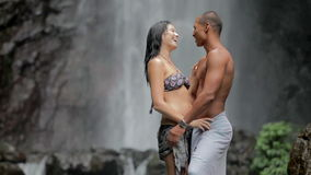 Couple At Waterfall Royalty Free Stock Image