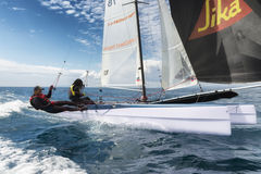 couple of athlete on sail boat during Formula 18 national catamaran regatta Royalty Free Stock Photo