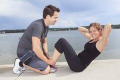 Couple athletes training outside for marathon Royalty Free Stock Image