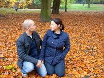Couple in the autumn Stock Photography