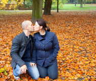 Couple in the autumn Stock Photo