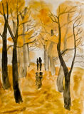 Couple on autumn alley, painting. Hand painted picture, watercolours - couple lovers walking down autumn alley Royalty Free Stock Photo