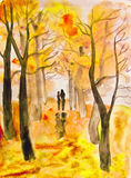 Couple on autumn alley, painting Stock Image