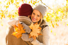 Couple autumn forest Stock Image