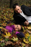 Couple in autumn landscape Stock Photo