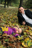 Couple in autumn landscape Royalty Free Stock Image