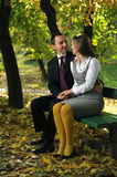 Couple in autumn landscape. View with a couple in autumn landscape Royalty Free Stock Images