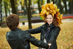 Couple at autumn outdoors Stock Image