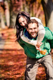 Couple in the autumn park Stock Image