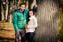 Couple in the autumn park Stock Photo