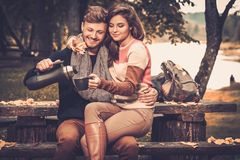 Couple in autumn park Royalty Free Stock Photos