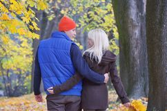 Couple in autumn park Stock Photography