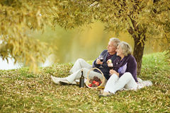 Couple in autumn park Stock Photos