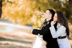 Couple in the autumn park Royalty Free Stock Photo