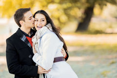 Couple in the autumn park Royalty Free Stock Photos