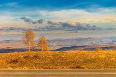 Couple. Autumn view from Cluj Napoca's hills over the Apuseni mountains Royalty Free Stock Images