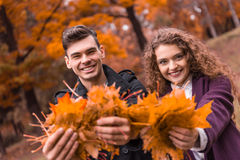 Couple on autumn walk Stock Photo