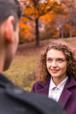 Couple on autumn walk Stock Photography