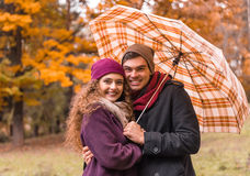 Couple on autumn walk Royalty Free Stock Photos