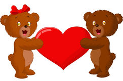 Couple baby bear holding red heart Royalty Free Stock Images