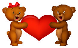 Couple baby bear holding red heart Stock Photo