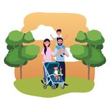 Couple with baby carriage vector illustration