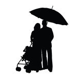 Couple with baby carriage silhouette Royalty Free Stock Photos