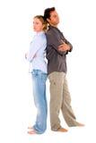 Couple back to back. On white background Stock Image