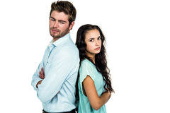 Couple back to back not talking after argument Stock Images