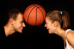 Couple and backetball Stock Image