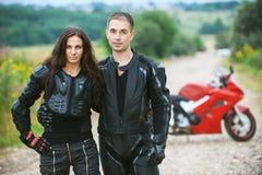 Couple on background of bike Stock Photo